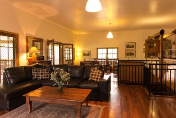The spacious living and dining room at Hunter Escape...